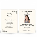 In Loving Memory and In Remembrance Laminated Irish Memorial Wallet Cards UK - CLS11