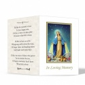 Virgin Mary Immaculate Conception Custom Memorial Laminated Folding Memorial Card - MAR16