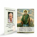 St Saint Patrick Irish Catholic In Loving Memory Memorial Laminated Prayer Wallet Card - ST08