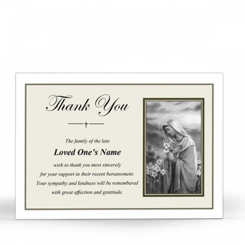 Religious Praying Virgin Mary In Remembrance Laminated Death Memorial Thanks Cards UK - MAR50