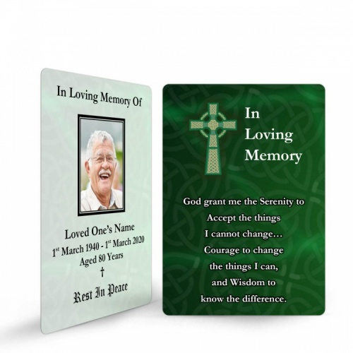 Celtic Green Cross Irish Memorial Wallet Card Ireland Themes by Memorial Card Shop  - CEL03