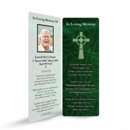 Celtic Green Cross Irish Memorial Bookmark Ireland Themes by Memorial Card Shop - CEL03