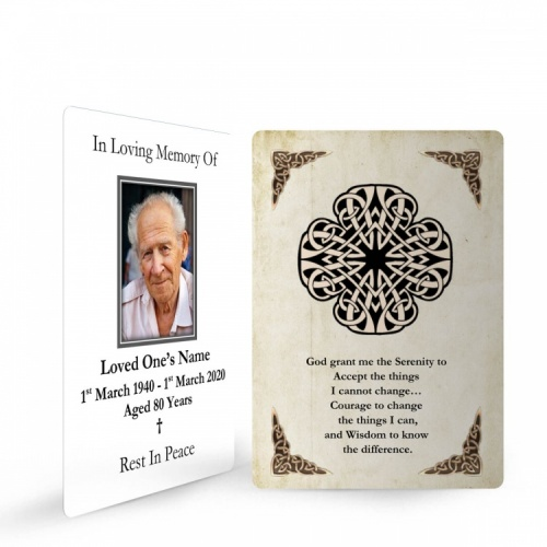 Celtic Style Catholic Irish Memorial Wallet Cards Ireland Themes by Memorial Card Shop Dublin  - CEL08