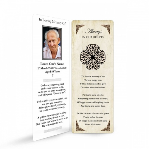 Celtic Style Catholic Irish Memorial Bookmark Ireland Themes by Memorial Card Shop Dublin - CEL08