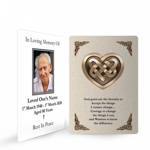 Catholic Celtic Heart Irish Memory Remembrance Funeral Memorial Prayer Cards - CEL14
