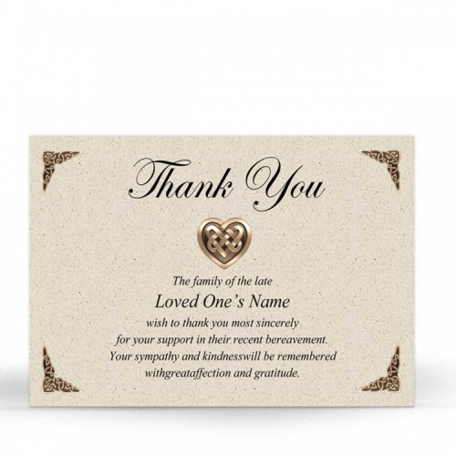 Catholic Celtic Heart Irish Memory Remembrance Funeral Memorial Funeral Notes - CEL14