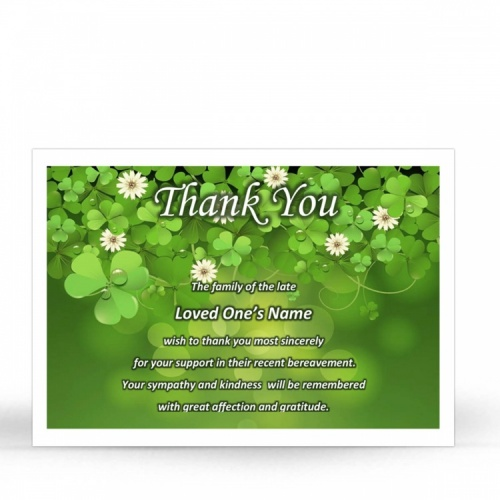 Shamrock Irish In Memoriam Acknowledgment Cards Ireland Theme In Loving Memory Of  Personalised Photo - CEL24