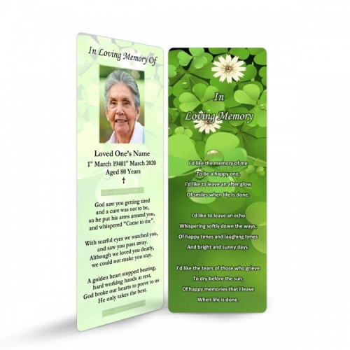 Shamrock Irish In Memoriam Cards Ireland Theme In Loving Memory Of  Personalised Photo - CEL24