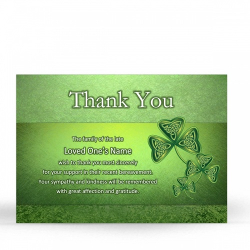 Irish Memorial Acknowledgment Cards Ireland Shamrock Theme In Loving Memory Of  Personalised Photo - CEL25