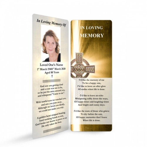 Traditional Celtic Catholic Irish Laminated Memorial Bookmark Online In Memoriam - CEL29
