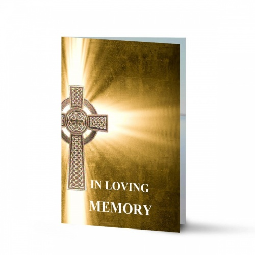 Traditional Celtic Catholic Irish Laminated Folding Memorial Cards Online In Memoriam Cards - CEL29