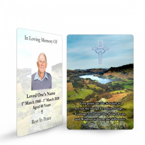 Personalised Memorial Wallet Cards Ireland Scenery with Irish Celtic Cross - CEL34