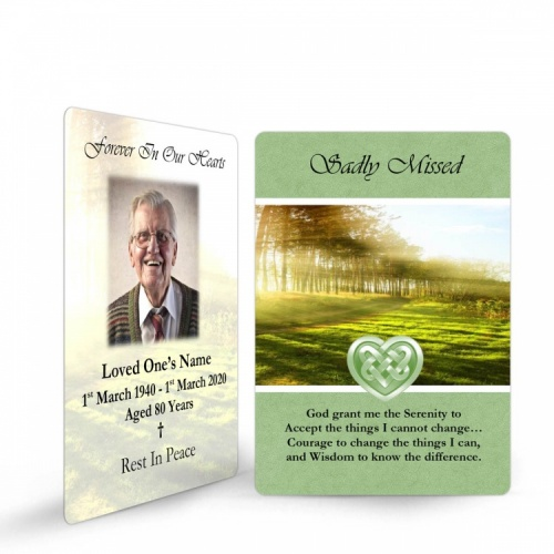 Irish Woodland Catholic & Celtic Laminated Irish Memory Prayer Holy Cards Personalised With Photo - CEL42