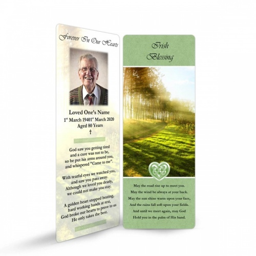 Irish Woodland Catholic & Celtic Laminated Irish Memory Bookmarks Personalised With Photo - CEL42
