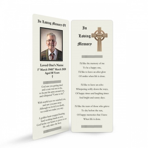 Traditional Celtic Irish Catholic Laminated Religious Funeral Memorial Prayer Bookmarks -CEL51