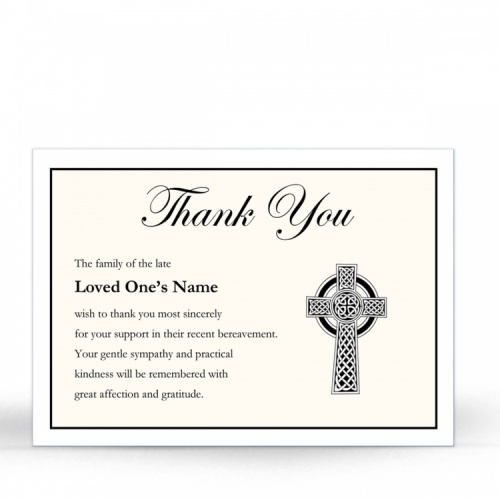 Gold Celtic Cross Catholic Irish Memorial Thank You Notes Ireland Themes by Memorial Card Shop Ireland  - CEL56