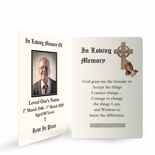 Gold Celtic Cross Catholic Irish Memorial Wallet Cards Ireland Themes by Memorial Card Shop Dublin Ireland  - CEL57