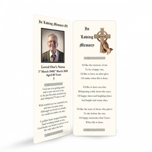 Gold Celtic Cross Catholic Irish Memorial Bookmark Ireland Themes by Memorial Card Shop Dublin Ireland - CEL57