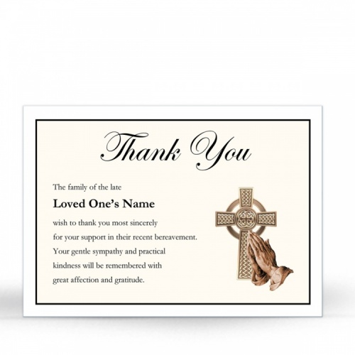 Gold Celtic Cross Catholic Irish Memorial Thank You Notes Ireland Themes by Memorial Card Shop Dublin Ireland  - CEL57