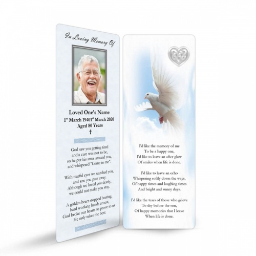 Memorial Card Ireland Theme with Dove & Celtic Tribute Bookmark CEL61
