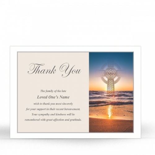 Irish Sunset Celtic Heart Laminated Irish Memory Thank You Cards Personalised With Photo - CEL71