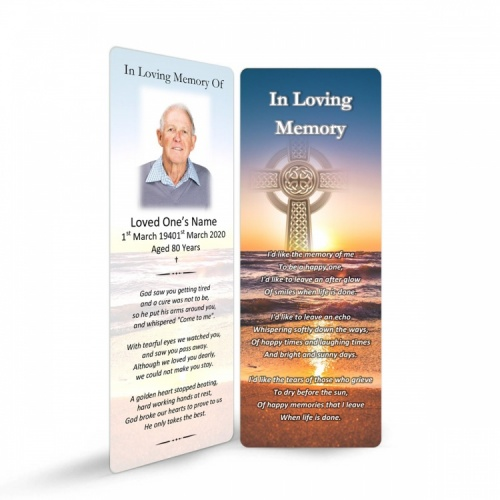 Irish Sunset Celtic Heart Laminated Irish Memory Bookmarks Personalised With Photo - CEL71