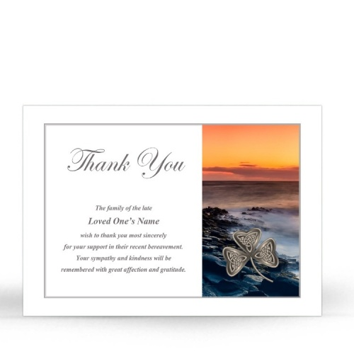 Irish Sunset Celtic Shamrock Laminated Irish Memory Thank You Cards Personalised With Photo - CEL73