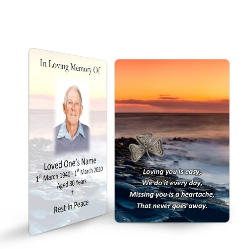 Irish Sunset Celtic Shamrock Laminated Irish Memory Prayer Holy Cards Personalised With Photo - CEL73