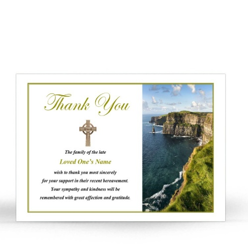 Irish Laminated Memorial Thank You Cards - CEL78