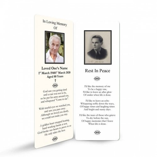 Old Photograph In Remembrance Laminated Memorial Bookmarks Catholic - CLS25