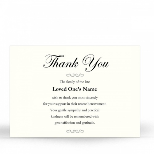 Classic Elegant Cream Catholic Memorial Acknowledgement Card - CLS02