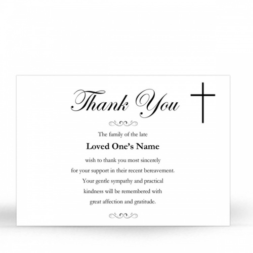 Simple Cross Religious Catholic In Memoriam Acknowledgement Card - CLS03