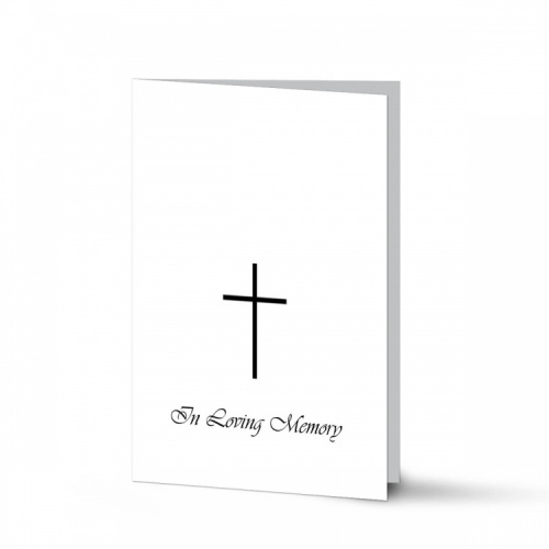 Simple Cross Religious Catholic In Memoriam Laminated Folding Memorial Card - CLS03