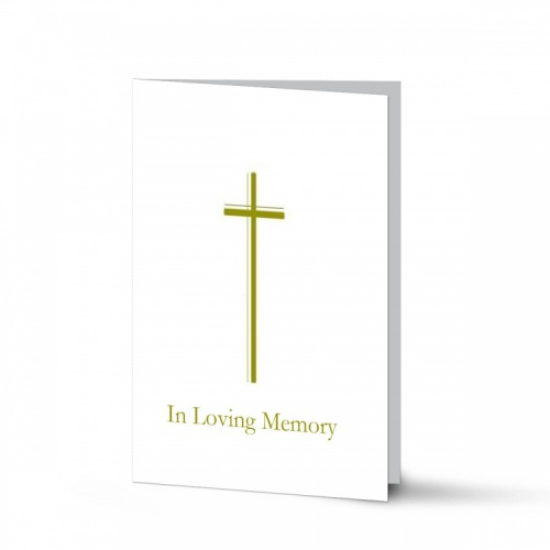 Elegant Gold Cross Catholic In Loving Memory Laminated Folded Memorial Card - CLS04