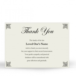 Elegant Scroll Design Religious Catholic In Memory Acknowledgement Card - CLS06