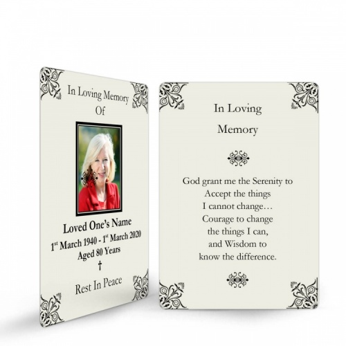 Elegant Scroll Design Religious Catholic In Memory Laminated Prayer Wallet Card - CLS06