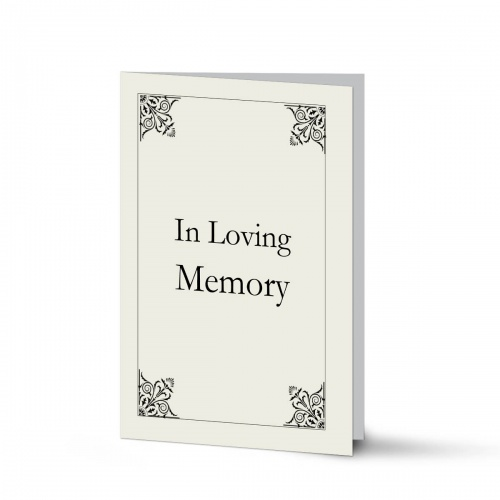 Elegant Scroll Design Religious Catholic In Memory Laminated Folding Memorial Card - CLS06