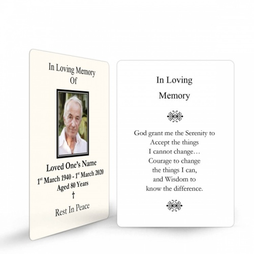 Religious White & Cream In Remembrance Laminated Memorial Wallet Cards UK - CLS07