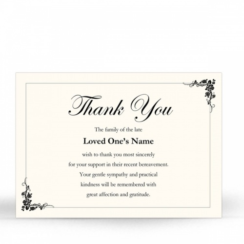 Traditional Classic Style Catholic Personalised Memorial Acknowledgement Card - CLS13