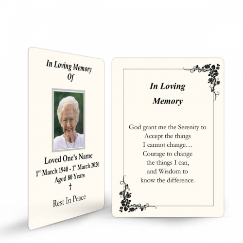 Traditional Classic Style Catholic Personalised Memorial Laminated Wallet Card - CLS13