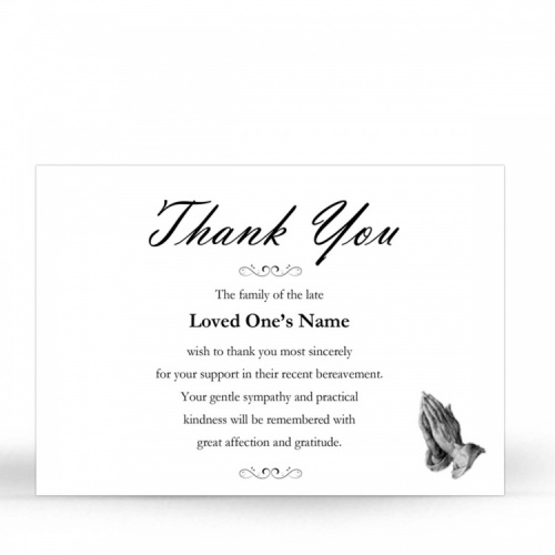 Praying Hands Catholic Customised Memorial Acknowledgement Card - CLS15