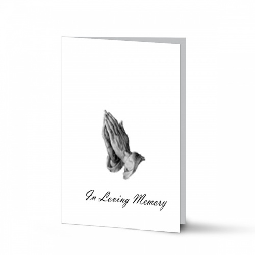Praying Hands Catholic In Loving Memory Customised Folded Memorial Card - CLS15