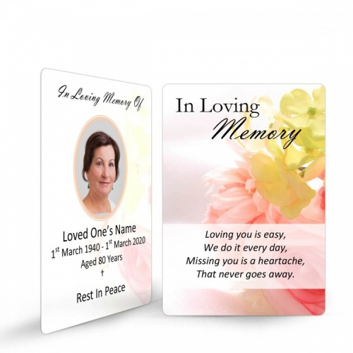Flower Design Memorial Holy Cards