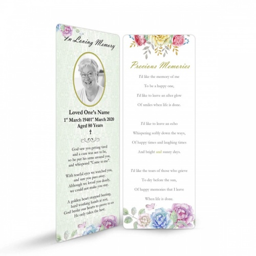 Gloss Laminated Personalised  Memorial Bookmarks