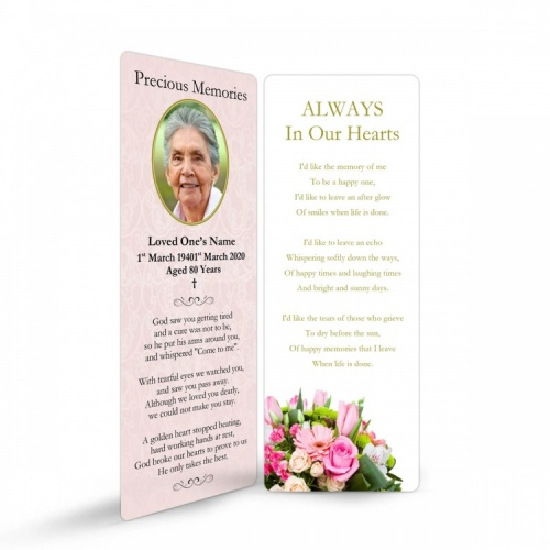 Gloss Laminated Personalised  Memorial Bookmark