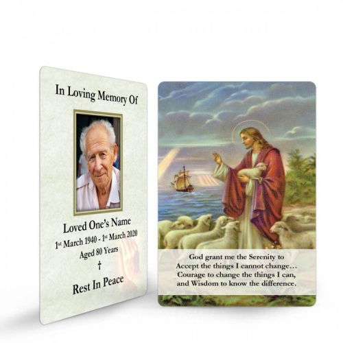 Jesus The Shepherd Religious Catholic In Memoriam Laminated Prayer Wallet Card - JC03