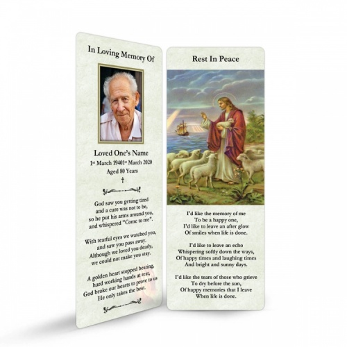 Jesus The Shepherd Religious Catholic In Memoriam Laminated Bookmark - JC03