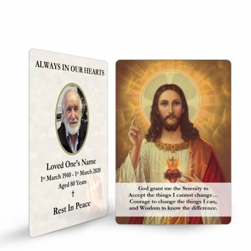 Sacred Heart Of Jesus Catholic In Loving Memory Memorial Prayer Laminated Wallet Card - JC04