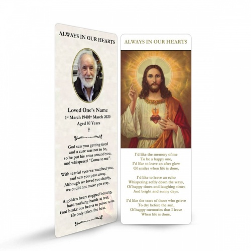 Sacred Heart Of Jesus Catholic In Loving Memory Laminated Memorial Prayer Bookmark - JC04