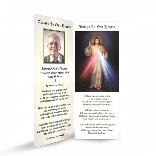 Jesus Divine Mercy In Remembrance Laminated Memorial Prayer Bookmarks UK - JC07